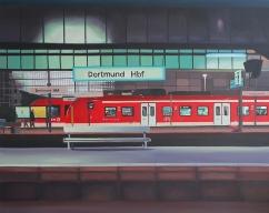 """""""Bahnhof"""", acrylic on canvas, 80 x 100 cm"""