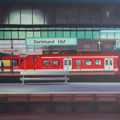 """Bahnhof"", acrylic on canvas, 80 x 100 cm"