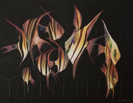 """Peces"", acrylic on canvas, 58 x 75 cm"