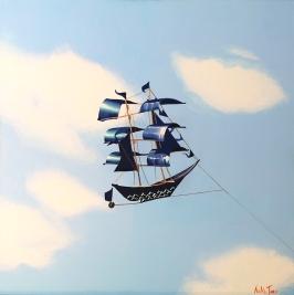 """""""Navegando el cielo azul"""", acrylic on canvas, 50 x 50 cm"""