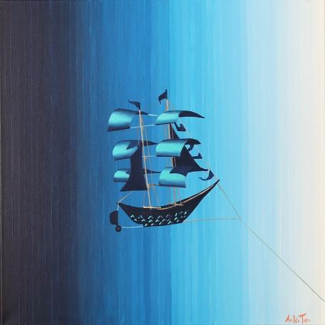 """""""Navegando todos los cielos"""", acrylic on canvas, 50 x 50 cm"""